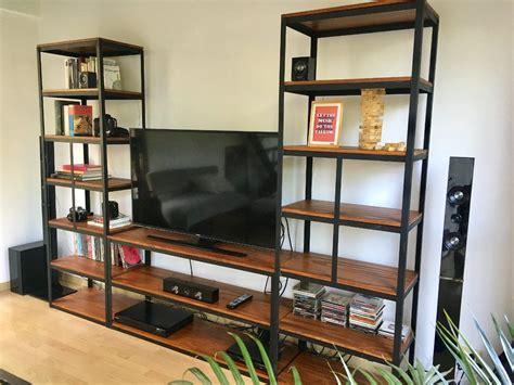 mueble para tv industrial! estantería en hierro y madera ...