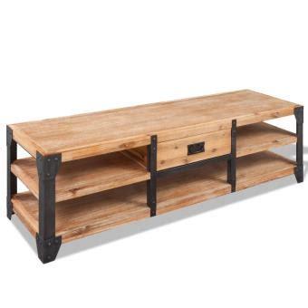 Mueble para TV madera de acacia maciza 140x40x45 cm ...
