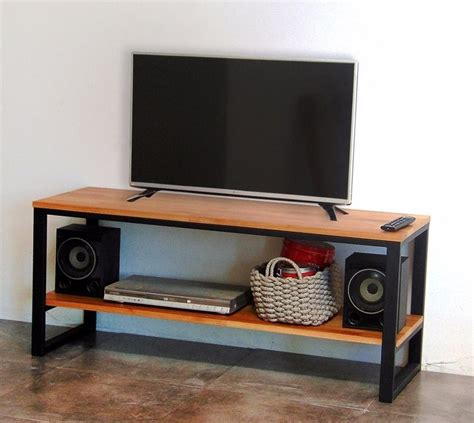 mueble rack para tv en hierro y madera industrial ...