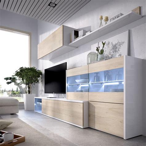 Mueble Salón para TV con Vitrina y Leds, en Rinconero ...
