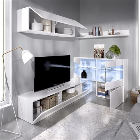 Mueble Salón para TV con Vitrina y Leds Modelo UMA Blanco ...