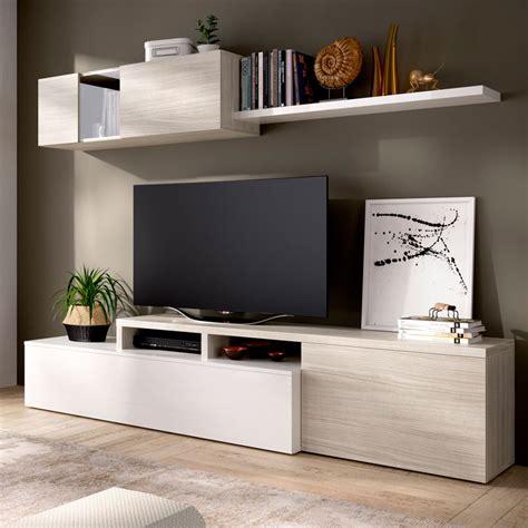 Mueble salón TV en color Blanco brillo y Gris DUPLO. Desde ...