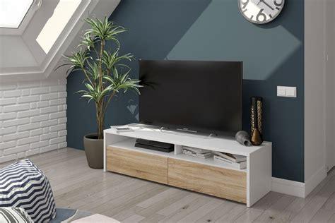 Mueble salón TV KIOTO de colores Blanco y Roble Canadian ...