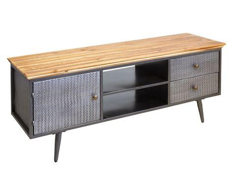 Mueble TV bajo industrial hierro y madera estantes y cajones
