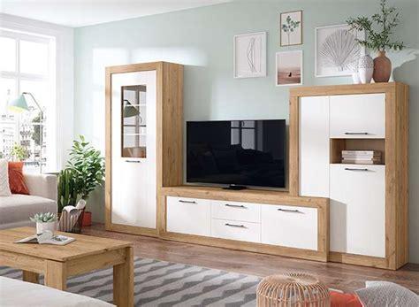 Mueble TV Blanco Mate y Madera + Vitrina   Conjunto Salón ...