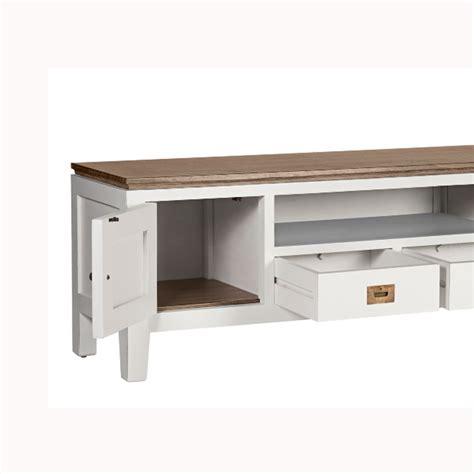 Mueble TV blanco y madera 150x40x50cm   Muebles El Chaflan