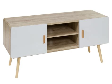 Mueble TV blanco y madera estilo escandinavo   Mesas para tv