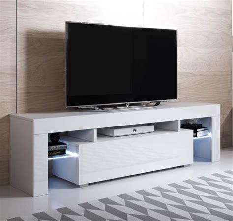 Mueble Tv Colgante Unai  160x45cm  Color Blanco Con Led ...