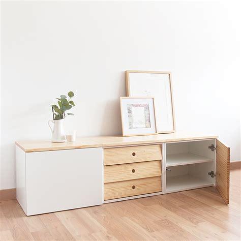Mueble TV. Combinación blanco y madera. Estilo Natural ...