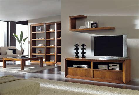 mueble TV en nogal con cajones y ruedas, alta decoración