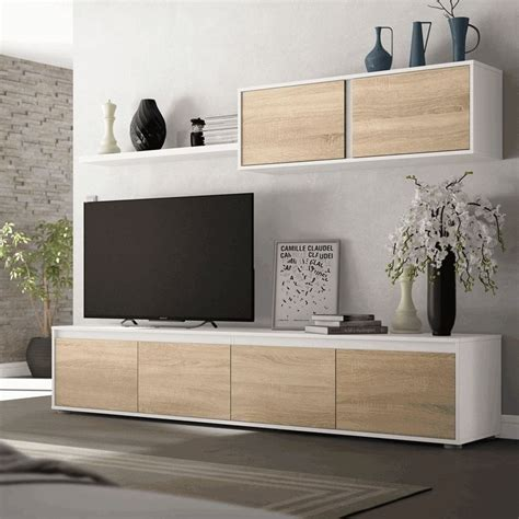 Mueble TV Home  Blanco Artik/Roble Canadian  | Arelwood