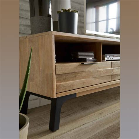 Mueble TV industrial, Mesa TV en madera maciza de acacia ...
