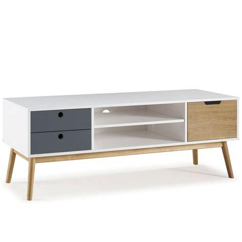 Mueble TV Leti Blanco, pino macizo, 1 puerta y 2 cajones ...
