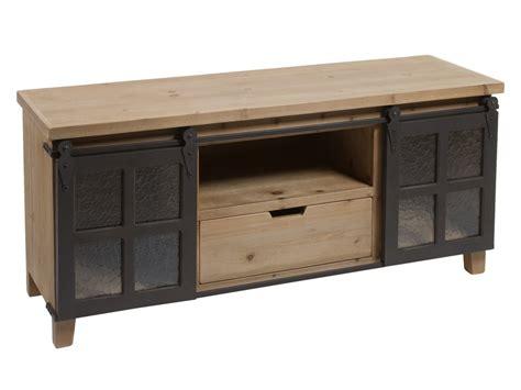 Mueble TV loft industrial de madera de abeto con puertas ...