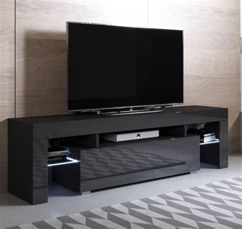 Mueble Tv Modelo Unai  160x45cm  Color Negro Con Led Rgb ...