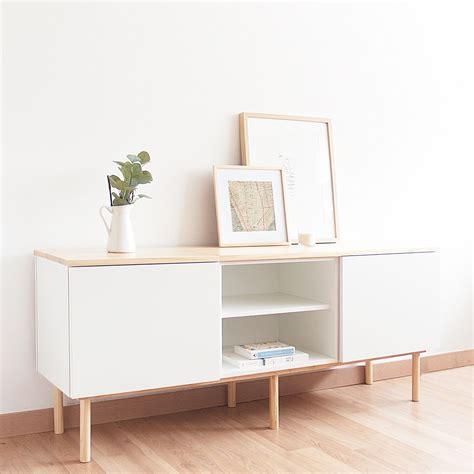 Mueble TV nórdico estante | Muebles blanco y madera ...
