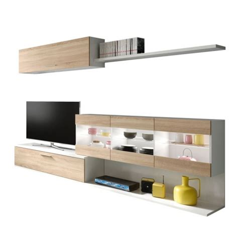 Mueble Tv Salón/comedor En Color Blanco Brillo Y Roble ...
