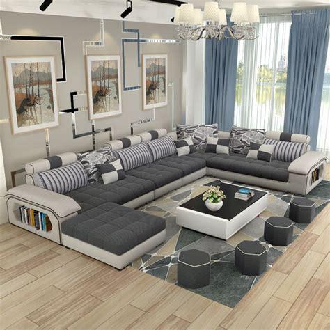 Muebles de sala de estar de lujo moderno esquina tela sofá ...