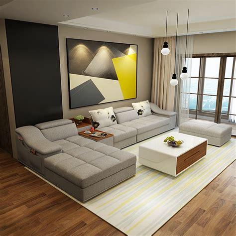 Muebles de sala moderno en forma de L tela sofá seccional ...