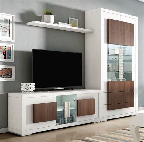Muebles de salón de diseño con vitrina y mesa tv madera ...