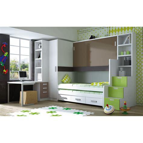 Muebles juveniles en color verde, camas compactas para chicos