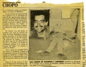 Muerte del  Chopo  jefe militar del Cartel de Medellin ...