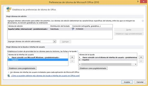 MUI Pack Office 2010. Cambia el idioma a Office 2010