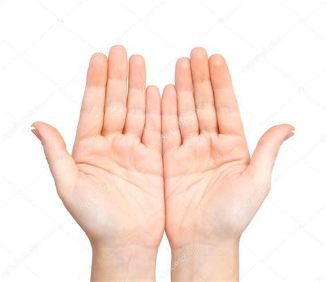 Mujer aislada las manos Palmas celebradas tema — Fotos de ...