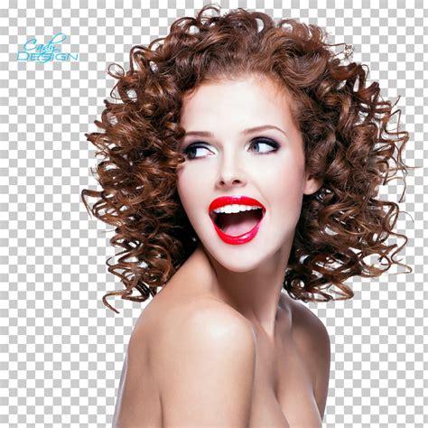 Mujer riendo con labios rojos, peinado con ondas, cortes ...