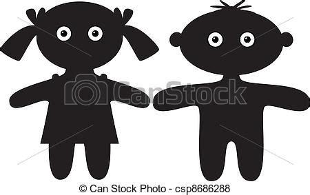 Muñecas, chico y chica, silueta. Muñecas, niños y niñas ...