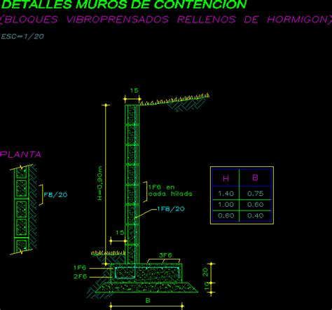 Muro de contención de suelos en AutoCAD | CAD  17.3 KB ...