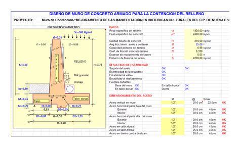 Muro de contencion tipo voladizo en XLS   CAD  293.38 KB ...