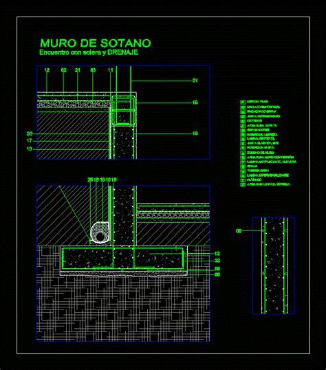 Muro de sotano con drenaje en AutoCAD   CAD  1.81 MB ...