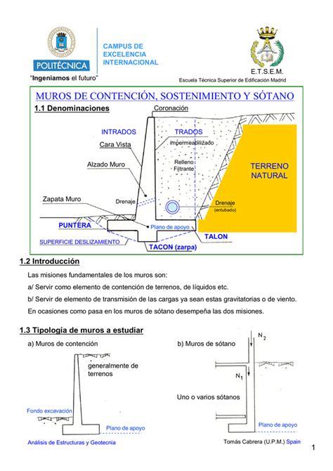 MUROS DE CONTENCIÓN, SOSTENIMIENTO Y SÓTANO
