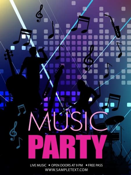 Music party banner singers silhouettes music notes icons ...