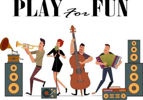 Music poster various instruments singers icons cartoon ...