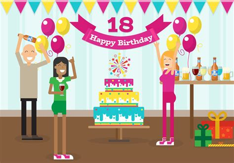 My 18 Years Birthday Party With Friends Free Vector ...