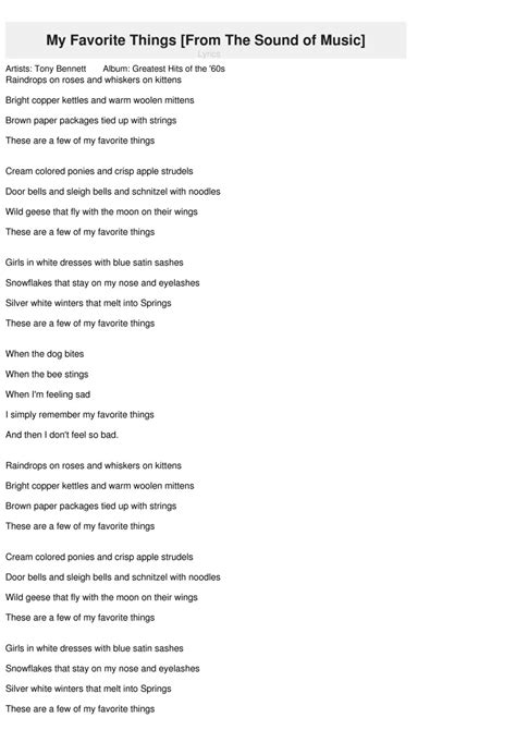 My Favorite Things [From The Sound of Music] Lyrics   Tony ...