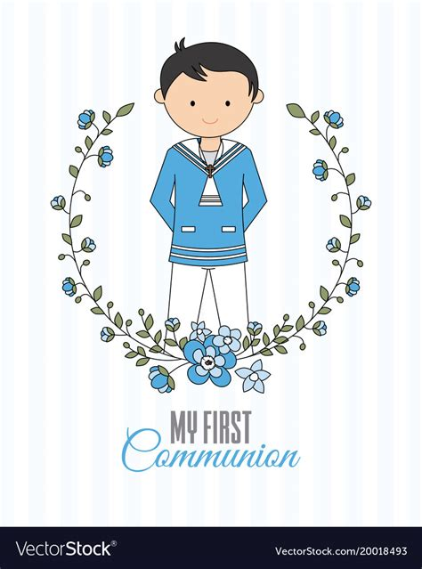 My first communion boy Royalty Free Vector Image