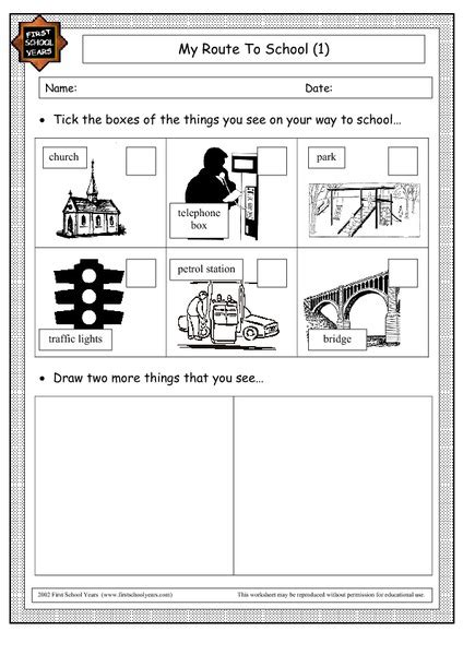My Route To School Worksheet for 1st   2nd Grade | Lesson ...