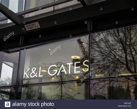 Name sign of international law firm K&L Gates LLP at its ...