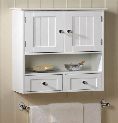 Nantucket White Wood Wall Mount Cabinet Bathroom Storage ...