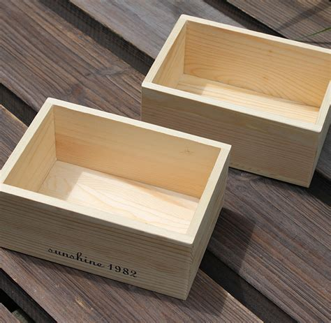 Natural Wood Color Solid Wooden Box Zakka Small Size For ...