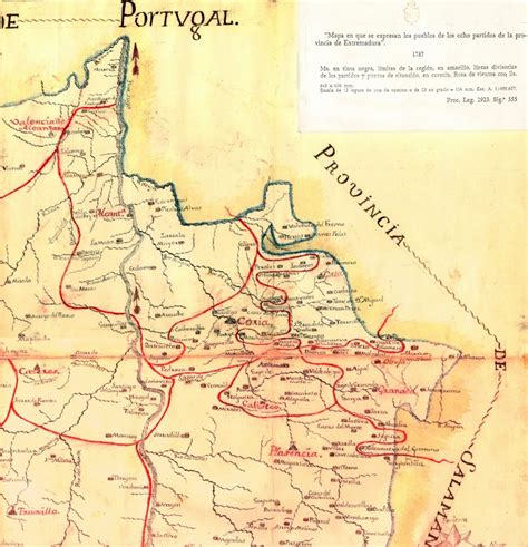 Navasfrías extremeña, mapa del 1787   Navasfrías