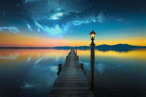 nebula, Space, Lake, Evening, Photo manipulation, Bridge ...