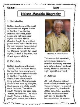 Nelson Mandela Biographical Article and Activities for ESL ...