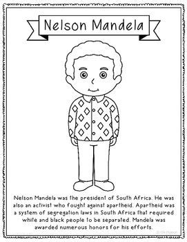 Nelson Mandela Biography Coloring Page or Poster. Makes a ...