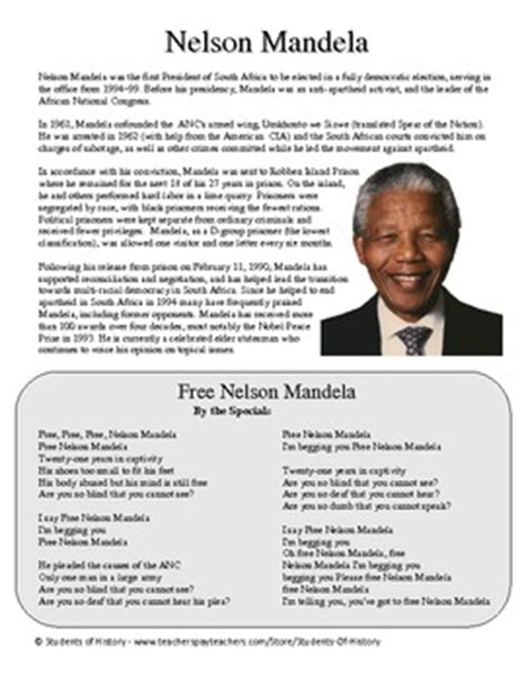 Nelson Mandela Biography, Song Lyrics, and Questions by ...
