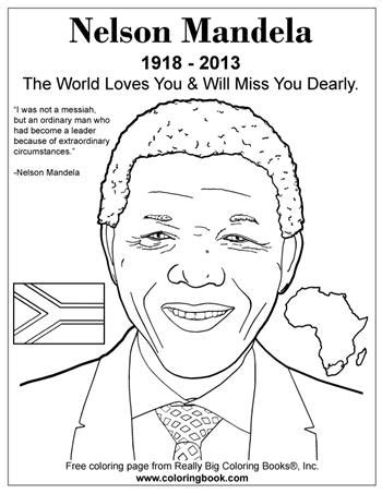 Nelson Mandela coloring page.   Stormfront