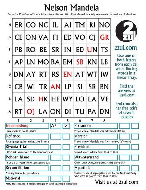 Nelson Mandela, Here is a 2zul puzzle with the category ...